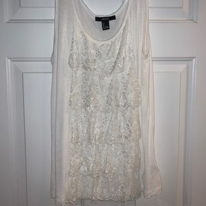 Forever21 White Lace Ruffle Tank